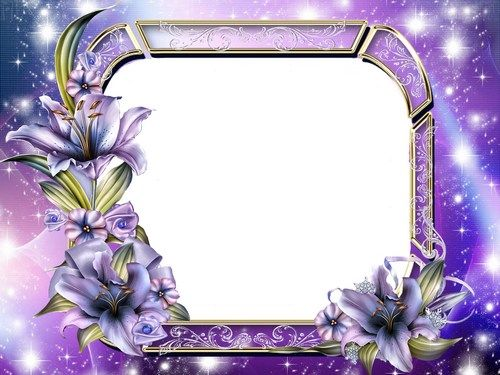 Free purple photo frame psd with lily free flower photo frame photoshop template pinterest for Purple psd
