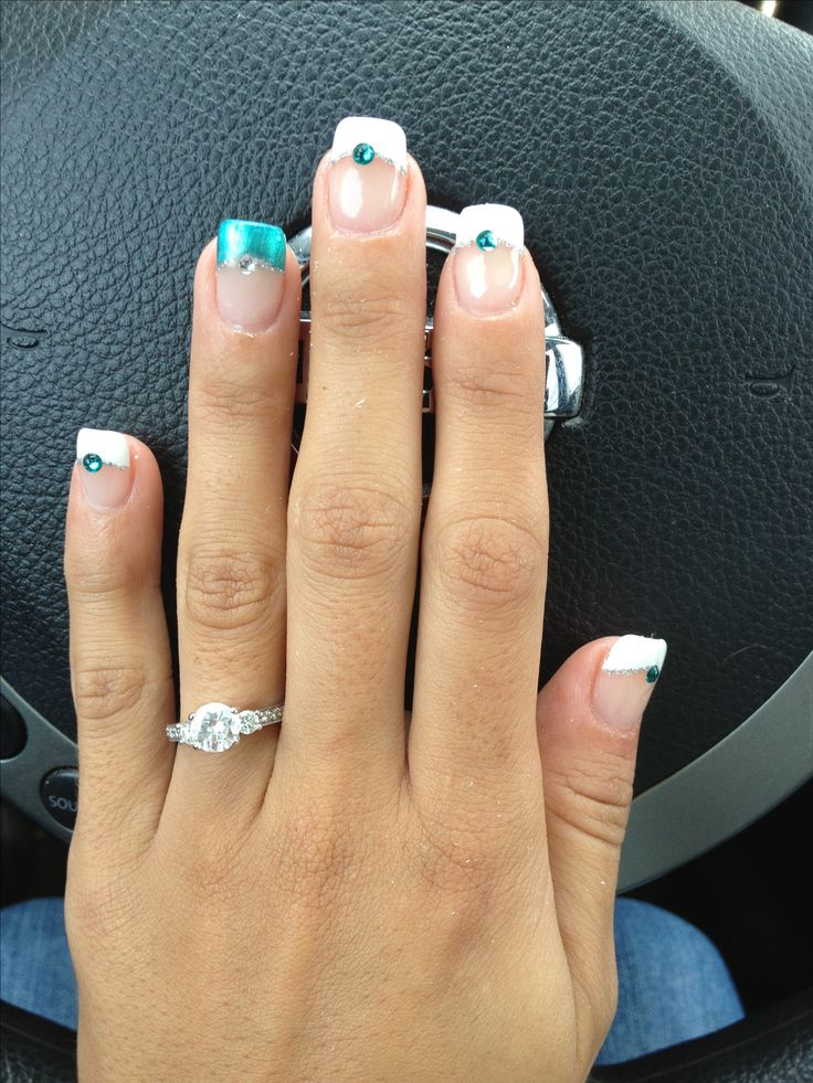 Wedding nails teal white crystals like it but i think without the crystals and just depends on color