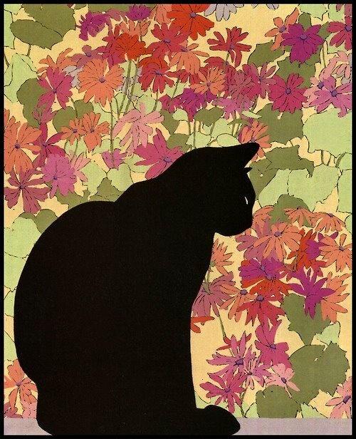 Gato con flores.