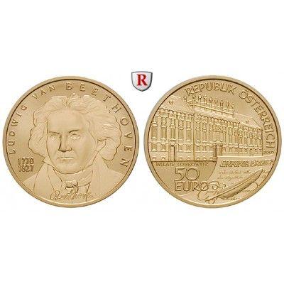 Österreich, 2. Republik, 50 Euro 2005, 10,0 g fein, PP: 2. Republik seit 1945. 50 Euro 10,0 g fein, 2005. Große Komponisten - Ludwig… #coins