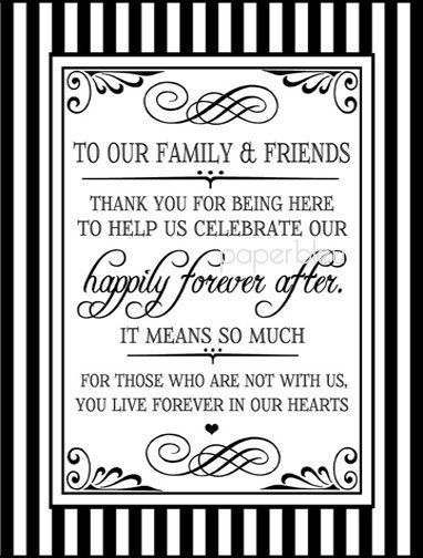 "Wedding ""Thank You Family/Friends"" Sign - DIY Instant Printable Download - Black and White Striped on Etsy, $5.00"