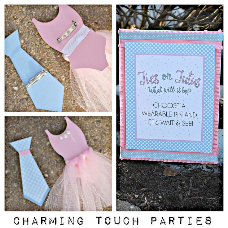 Gender Reveal wearable pins and sign.  20 Ties or Tutus wearable pins and 8x10 sign on canvas.  Customizable. by CharmingTouchParties on Etsy