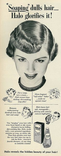 1950 Hair Care Ad, Halo Shampoo   Flickr - Photo Sharing!