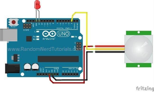 Arduino With Pir Motion Sensor Schematics Arduino Arduino Projects Motion Sensor