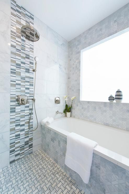 Blue And Gray Glass Tiles In 2019 Shower Accent Tile