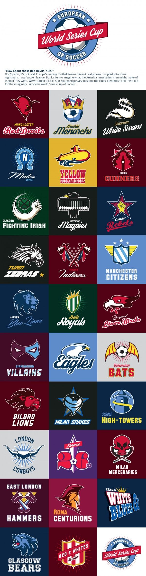 Futball club logos reimagined as American sports teams