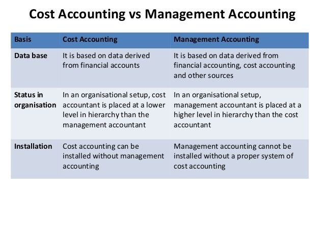 Management accounting collects data from cost accounting and financial accounting. Thereafter, it analyzes and interprets the data to prepare reports and provide necessary information to the management.  On the other hand, cost books are prepared in cost accounting system from data as received from financial accounting at the end of each accounting period.
