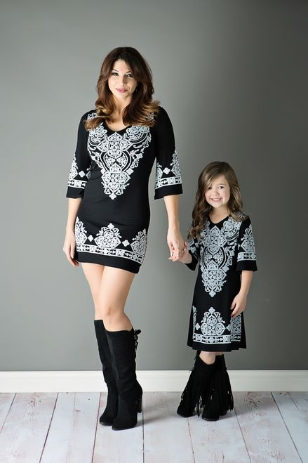 Mommy and Me India Design Stitch Tunic Dress Black White - Ryleigh Rue Clothing by Modern Vintage Boutique