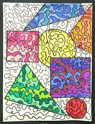 """longest line drawing"" fill paper with one long line, draw shapes on top, color each shape with a monochromatic color scheme color pencils"
