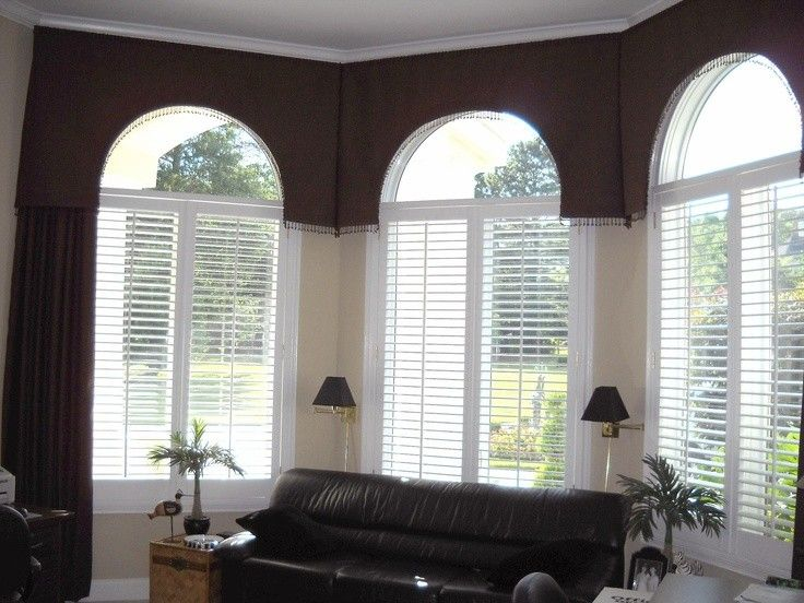 17 best images about arched window treatments on pinterest for Bay window shaped desk