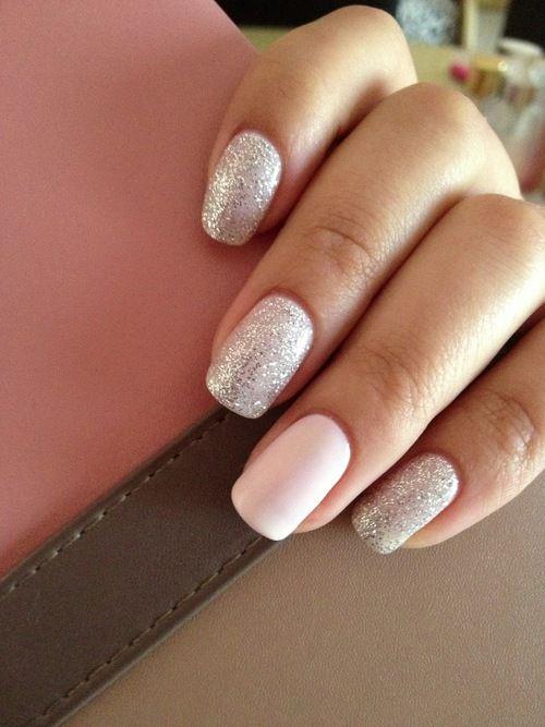 Silver sparkle w/ white accent nail.