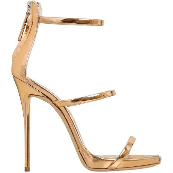 Giuseppe Zanotti Women 120mm Metallic Leather Sandals (2,565 PEN) ❤ liked on Polyvore featuring shoes, sandals, heels, обувь, gold, high heel shoes, heeled sandals, leather sole sandals, metallic shoes and metallic sandals