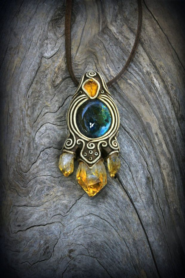 Labradorite gemstone clay pendant raw citrine crystal mystic wiccan charm spirit necklace