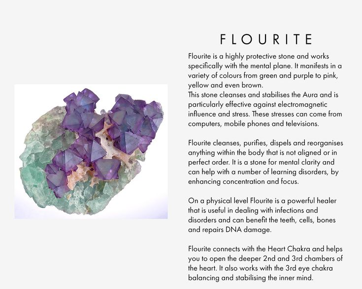 Flourite is a highly protective stone and works specifically with the mental plane. It manifests in a variety of colours from green and purple to pink, yellow and even brown. This stone cleanses and stabilises the Aura and is particularly effective against electromagnetic influence and stress. These stresses can come from computers, mobile phones and televisions. Flourite cleanses, purifies, dispels and reorganises anything within the body that is not aligned or in perfect order. It is a...