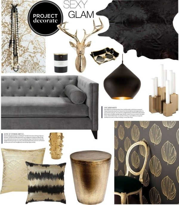 Project decorate sexy glam with honey we re home for Gold and black living room ideas