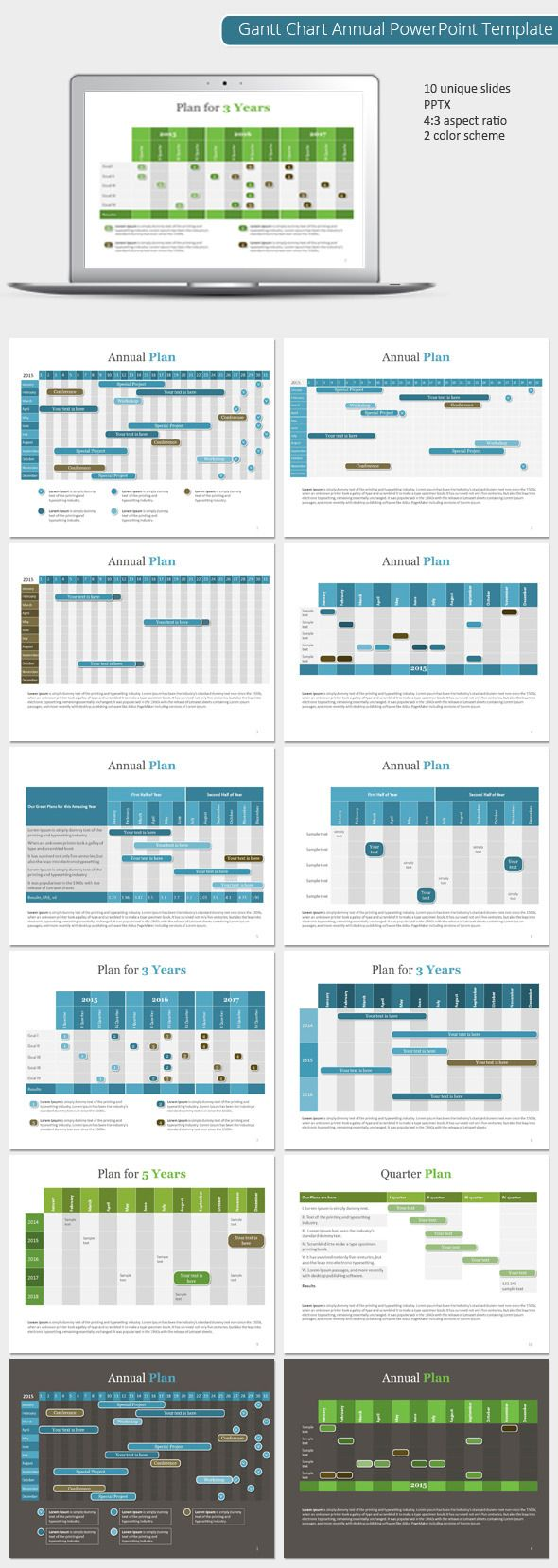 Gantt Chart Annual PowerPoint Template (Powerpoint Templates) preview