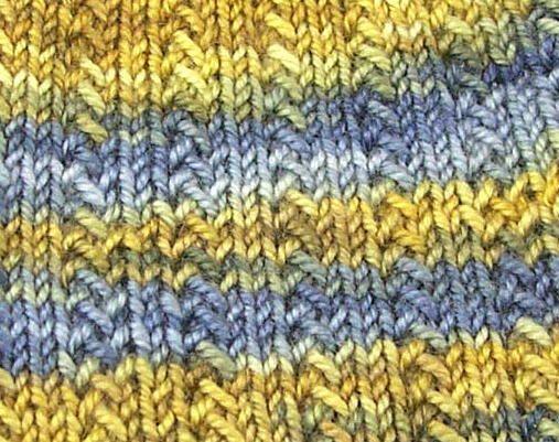 Herringbone Rib: Row One: Knit Row Two: *K2, Slip 1, K1, YO, PSSO* repeat fro...
