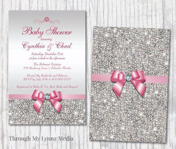 Bling Baby Shower Invitations   Diamond Princess Baby Shower Invitation   Silver and Pink Bling Baby Shower   Digital & Print Invitations