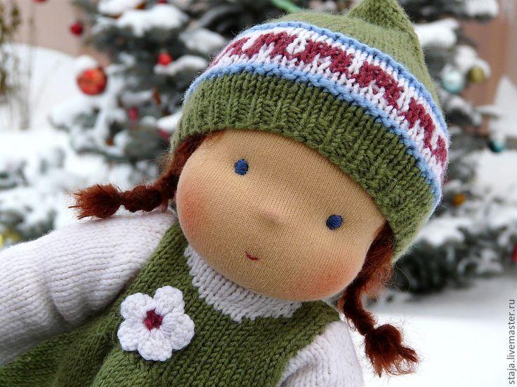 Купить Хорошая девочка - зелёный, вальдорфская кукла, waldorf doll, кукла в подарок, шерсть 100%