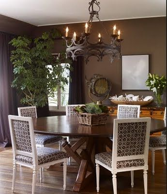 Like Wall Color Traditional Chairs Paired W Wood Table Tree Plant Curtains Closely Matching Walls Jeff Lewis