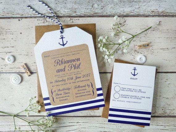 Nautische Hochzeitseinladung-Tag am Meer Hochzeit  von PaperFudge