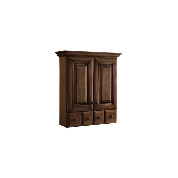 Allen roth ballantyne w x h x d mocha with ebony glaze bathroom wall - Allen roth bath cabinets ...