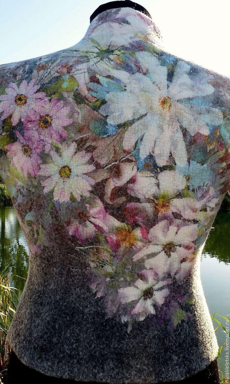 Купить Жакет Les fleurs- войлок - жакет из войлока, жакет валяный, комбинированный, цветочный