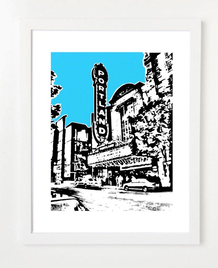 Portland Skyline Poster - Portland City Skyline Art Print  - Portland Concert Hall - VERSION 1 by BugsyAndSprite on Etsy https://www.etsy.com/listing/105787236/portland-skyline-poster-portland-city