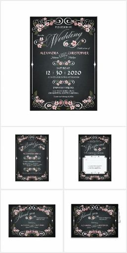 Floral Blossom Chalkboard Wedding Suite