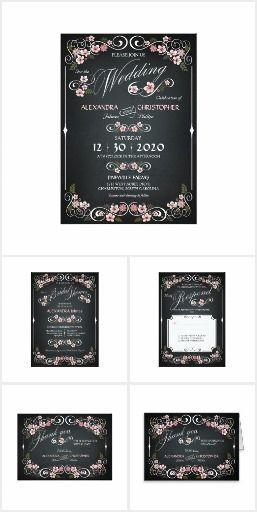 Floral Blossom Chalkboard Wedding Suite
