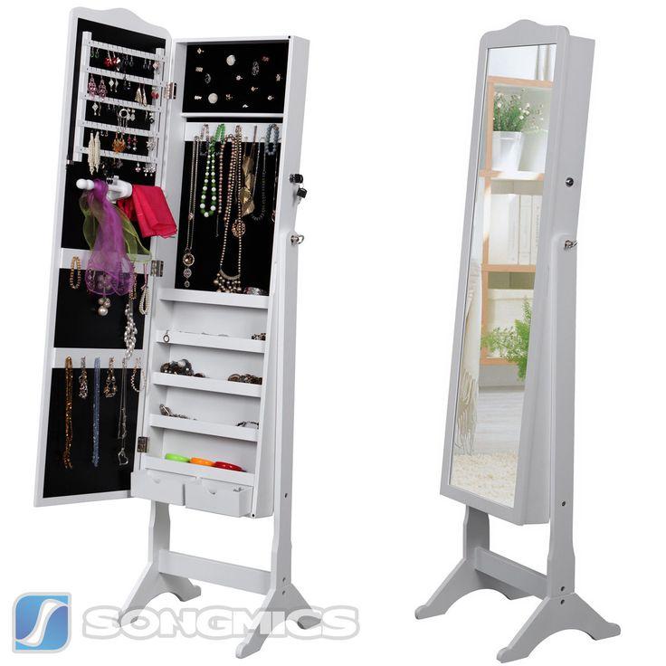 Songmics Armadio Specchio Portagioie Gioielli A Chiave Bianco 158cm JBC82W | eBay
