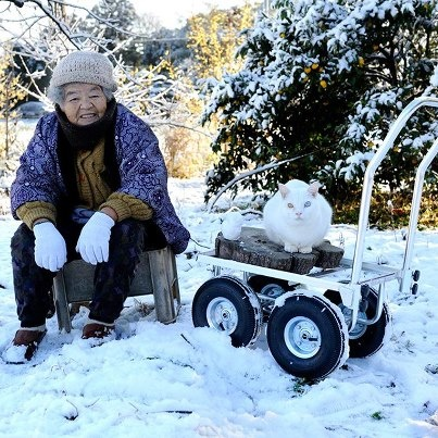 Misao and her cat Fukumaru