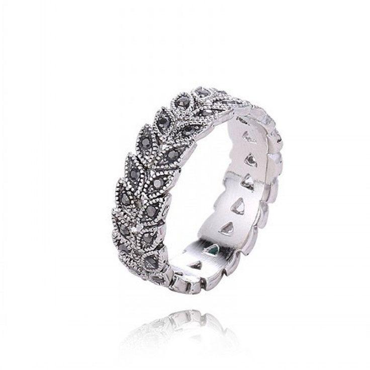 Dark Crystal Feather Ring