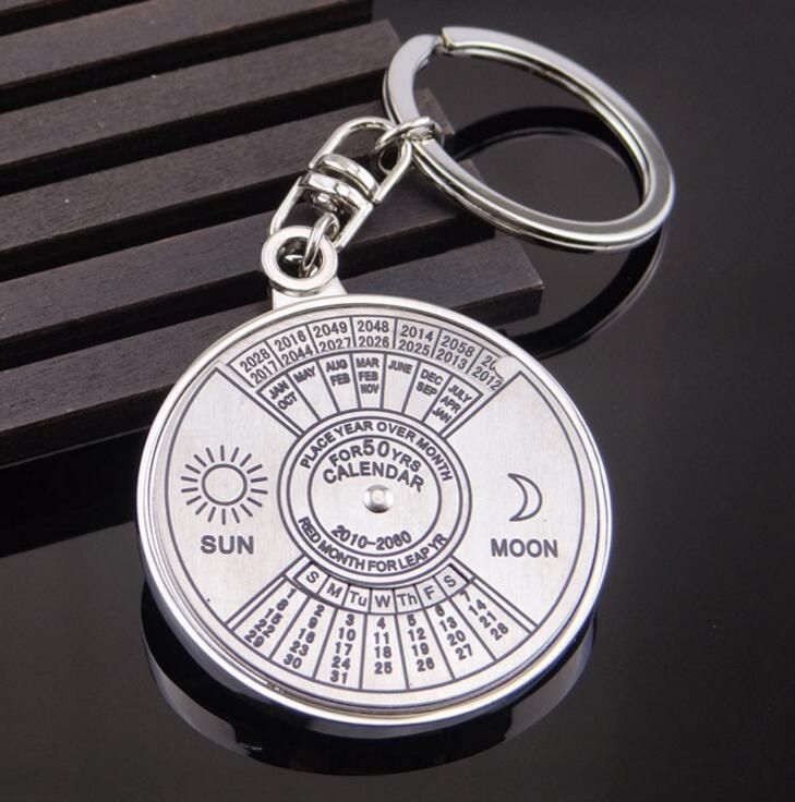 Wholesale Mini Retro Trendy Stainless Steel Super Perpetual Calendar Unique Metal Key Chain Ring 50 Years Keyring KeyChain