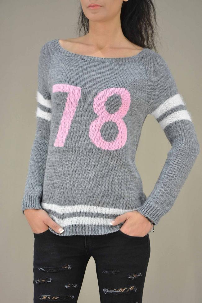 Γυναικείο πουλόβερ με χαμόγελο  PLEK-2726-gr  Πλεκτά > Πλεκτά και ζακάτες