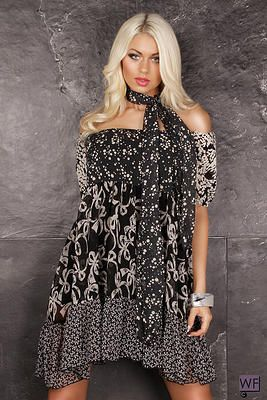 Be flirty and feminine in this off-the-shoulder printed dress! The ruffled hem gives a playful twist to the sexy neckline, and the contrasting prints are positioned in just the right places to slim and flatter your figure. Sophistication is added to this look with the neck tie provided, and we recommend you wear with our Detroit Darling jacket and black leather boots.  Features: • Off-the-shoulder design • Neck Tie • Ruffle hem • Bold print  NZ$89.95