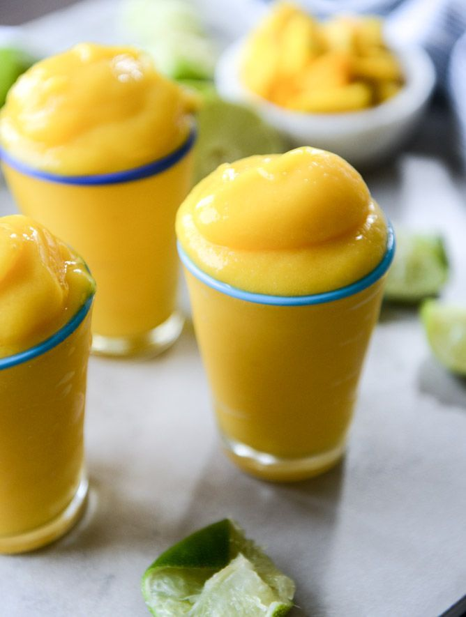 fresh mango margarita frosty made with fresh fruit, lime, tequila and a touch of grand marnier. @Jan Howard sweet eats