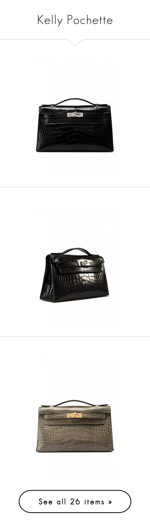 """Kelly Pochette"" by cherhorowitz95 ❤ liked on Polyvore featuring bags, handbags, clutches, mini pochette, crocodile embossed handbags, croco handbag, mini handbags, crocodile handbags, alligator handbags and crocodile purse"