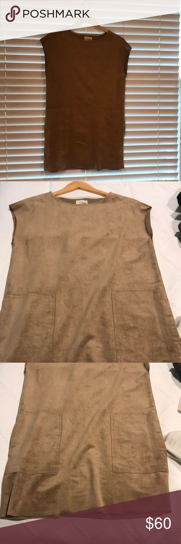 Aritzia suede tan dress from Wildred. Never wore. Tan suede dress Wilfred Dresses Mini