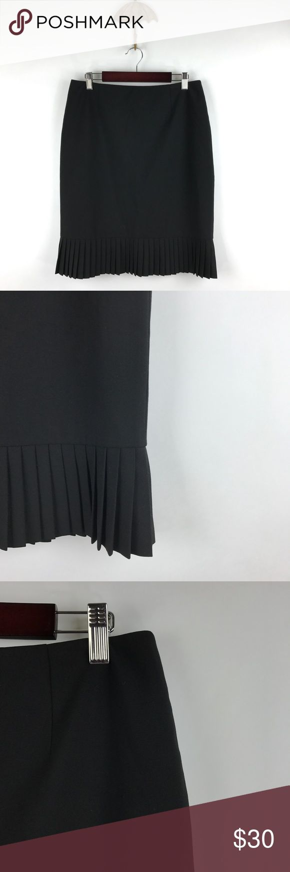 """Alfani Essentials black pencil skirt Sz 4P 688 Alfani Essentials Sz 4P Women's Petite Black Career Pencil Skirt Pleated Hem 688  Measurements: Waist:  15"""" Flat Across Length: 21.5"""" Long  In good preowned condition with no known flaws and light overall wear. Alfani Skirts Pencil"""