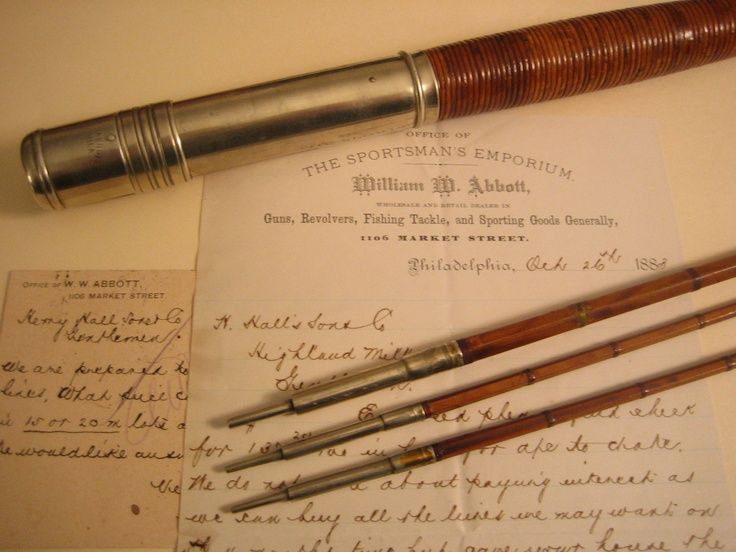 William Abbott bamboo fly rod with letterhead, postal card