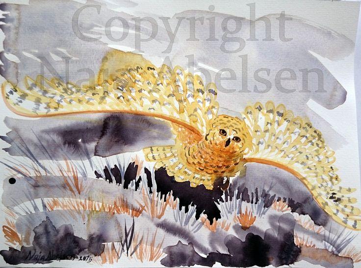 """""""Sneugle i gråvejr"""" meaning Snowy Owl in grey weather. Watercolour by Naja Abelsen. www.najaabelsen.dk"""