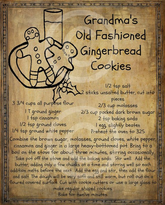 Primitive Gingerbread Man Cookie Recipe Pantry Logo Label Jpeg Digital File for Crock  Jar, Labels, Pillows, Doll