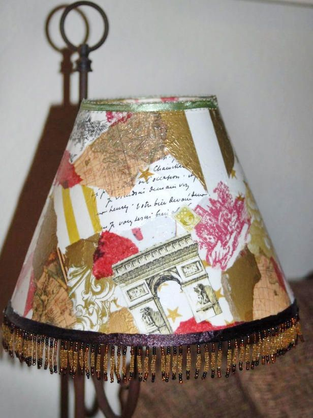 Bright Decoupage Idea  A decoupage lampshade can easily match the personality and theme of any room.