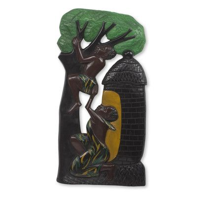 Novica Good Brothers Hand Painted Low Relief African Sculpture Wall Décor