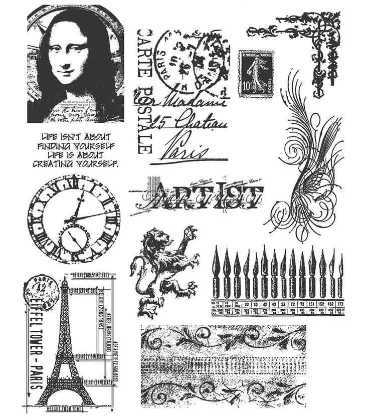 Tim Holtz Large Cling Rubber Stamp Set Mini Classics