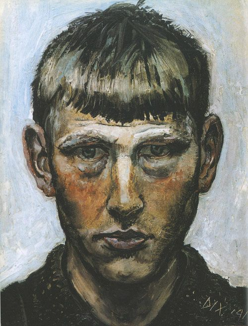 Otto Dix, Self Portait, 1913 .... Wilhelm Heinrich Otto Dix (German: 2 Dec 1891 – 25 July 1969) was a German painter and printmaker, noted for his ruthless and harshly realistic depictions of Weimar society and the brutality of war. Along with George Grosz, he is widely considered one of the most important artists of the Neue Sachlichkeit.