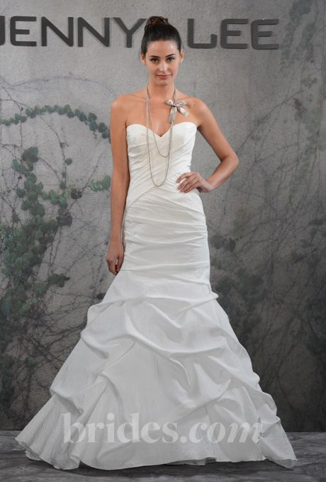 Brides.com: Jenny Lee - Fall 2013. Style 1319, strapless crinkled silk taffeta A-line wedding dress with a sweetheart neckline and ruched bodice, Jenny LeeSee more Jenny Lee wedding dresses in our gallery.
