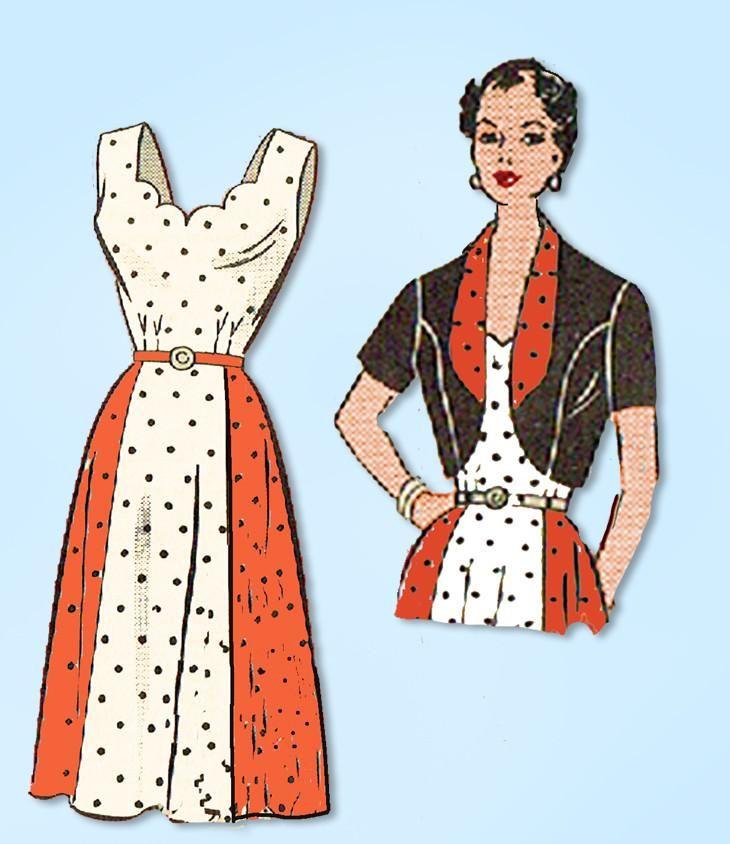 1950s Vintage Anne Adams Sewing Pattern 4538 Plus Size Womens Sun Dress Sz 46 B