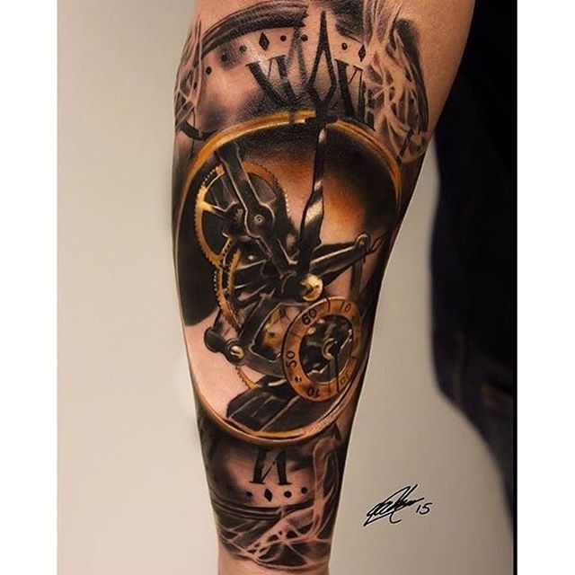 tattoo blackandgrey clock clocktattoo on Instagram